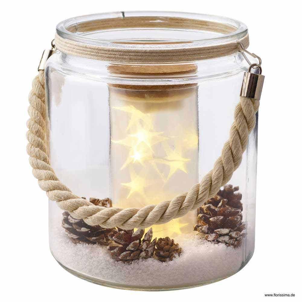 led glas topf mit lichterkette schnee zapfen f r. Black Bedroom Furniture Sets. Home Design Ideas