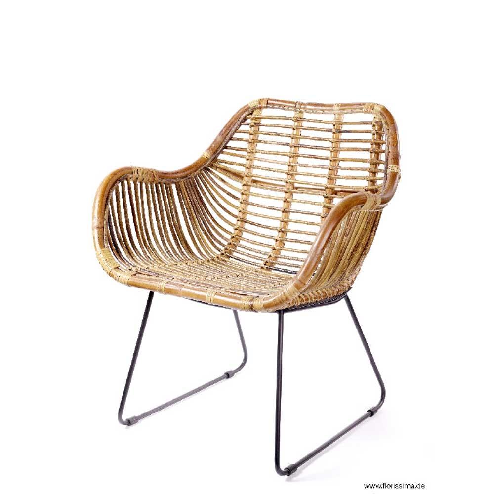 rattan stuhl mit metallbeinen h 76cm braun schwarz. Black Bedroom Furniture Sets. Home Design Ideas