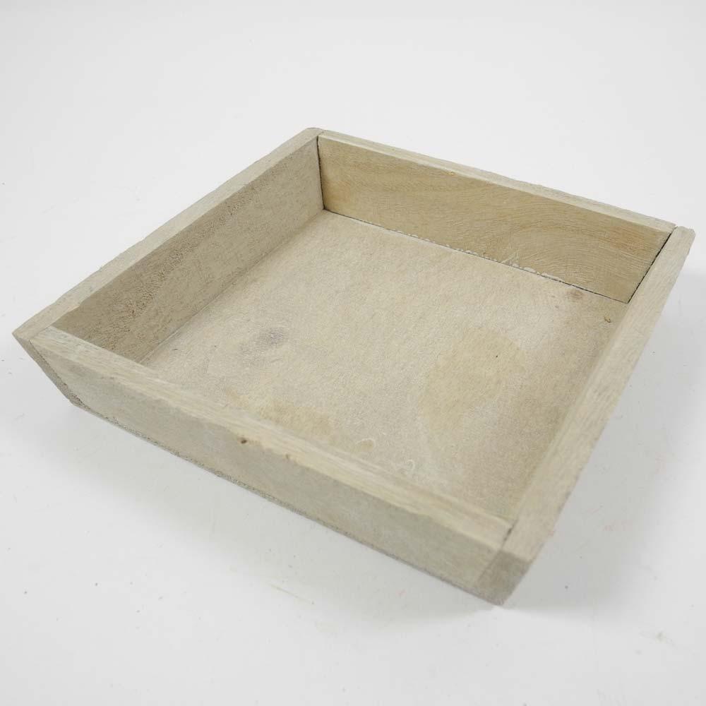 holz tablett quadratisch 15x15cm grau wei. Black Bedroom Furniture Sets. Home Design Ideas