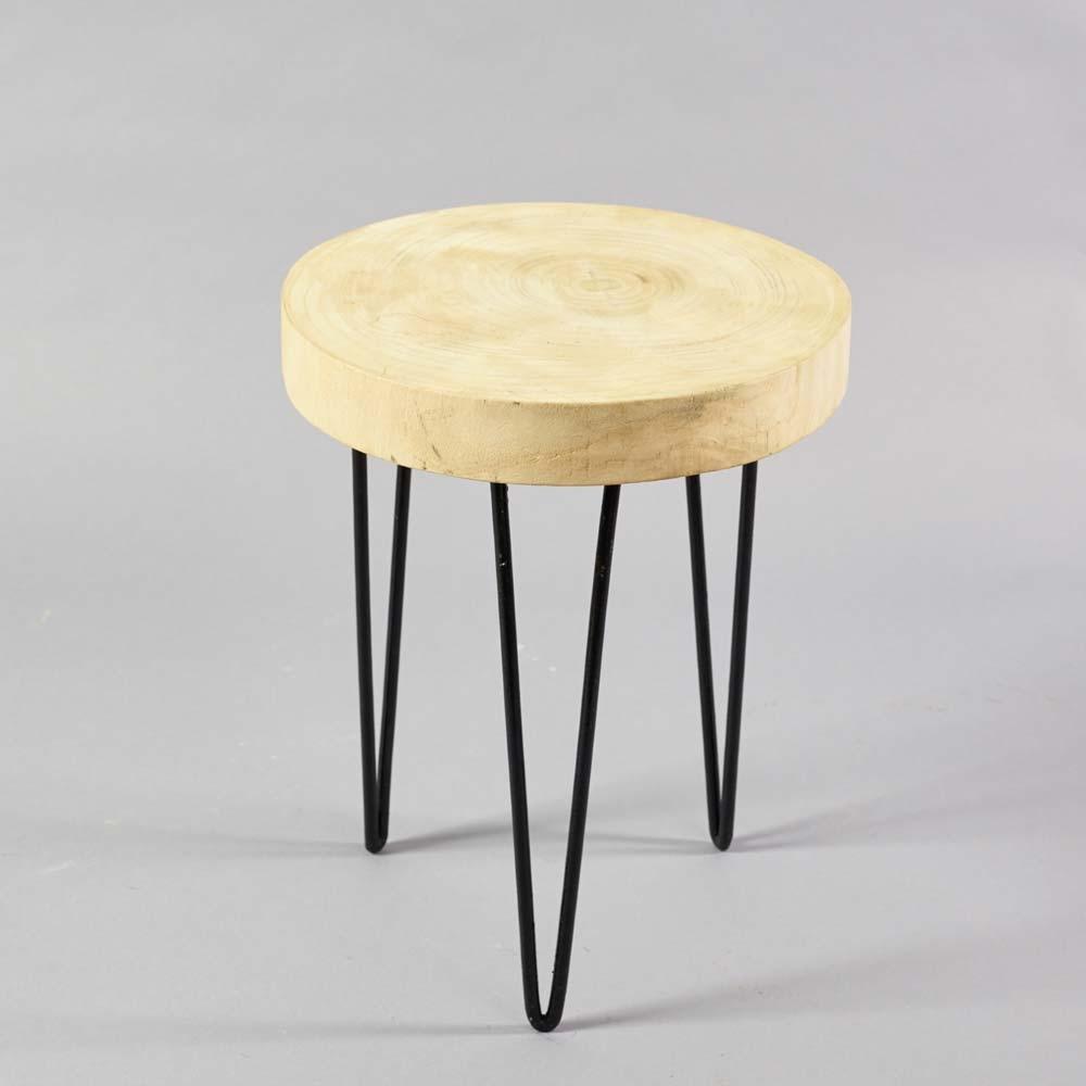 holz metall hocker mit f en h51cm natur schwarz. Black Bedroom Furniture Sets. Home Design Ideas
