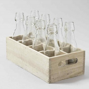 GLAS FLASCHEN IN HOLZBOX H 15