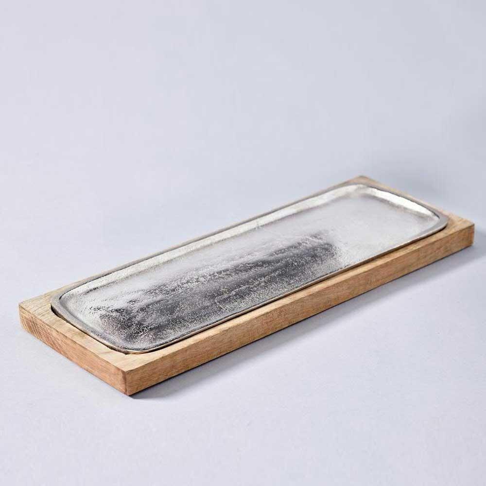 metall holz tablett rechteckig l 42x15cm silber braun. Black Bedroom Furniture Sets. Home Design Ideas