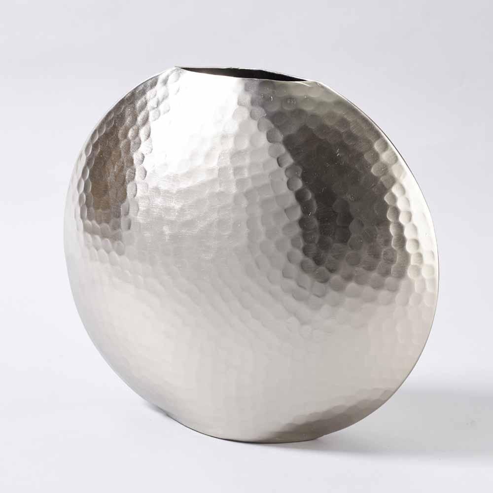 Alu Vase Diskus Gehammert H36cm Silber Grau Matt