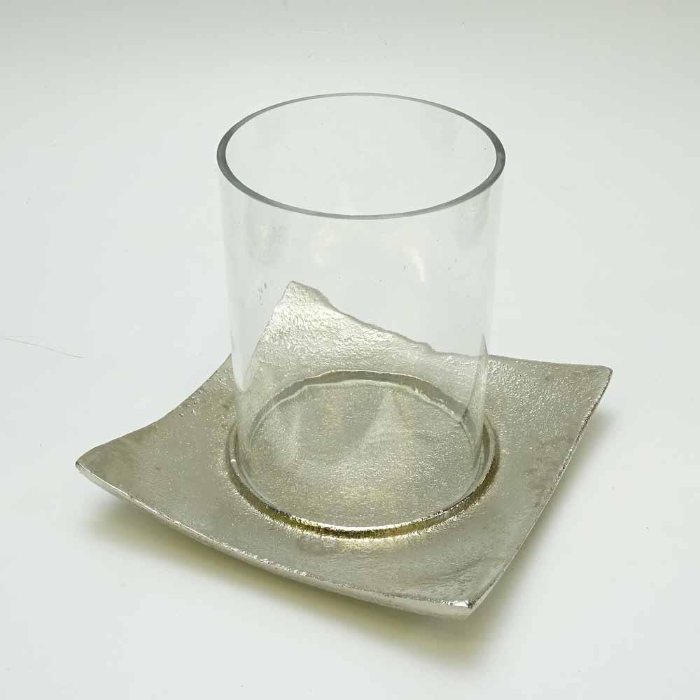 glas windlicht a metall teller h10cm klar silber. Black Bedroom Furniture Sets. Home Design Ideas