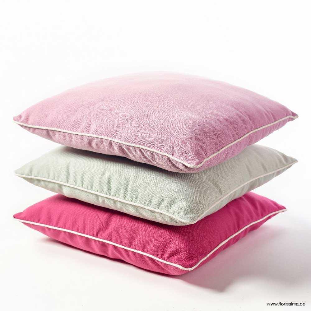 stoff kissen mit wei en rand l 45cm pink. Black Bedroom Furniture Sets. Home Design Ideas