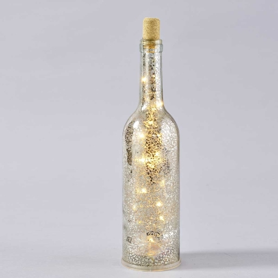 LED GLASFLASCHE H31CM SILBER