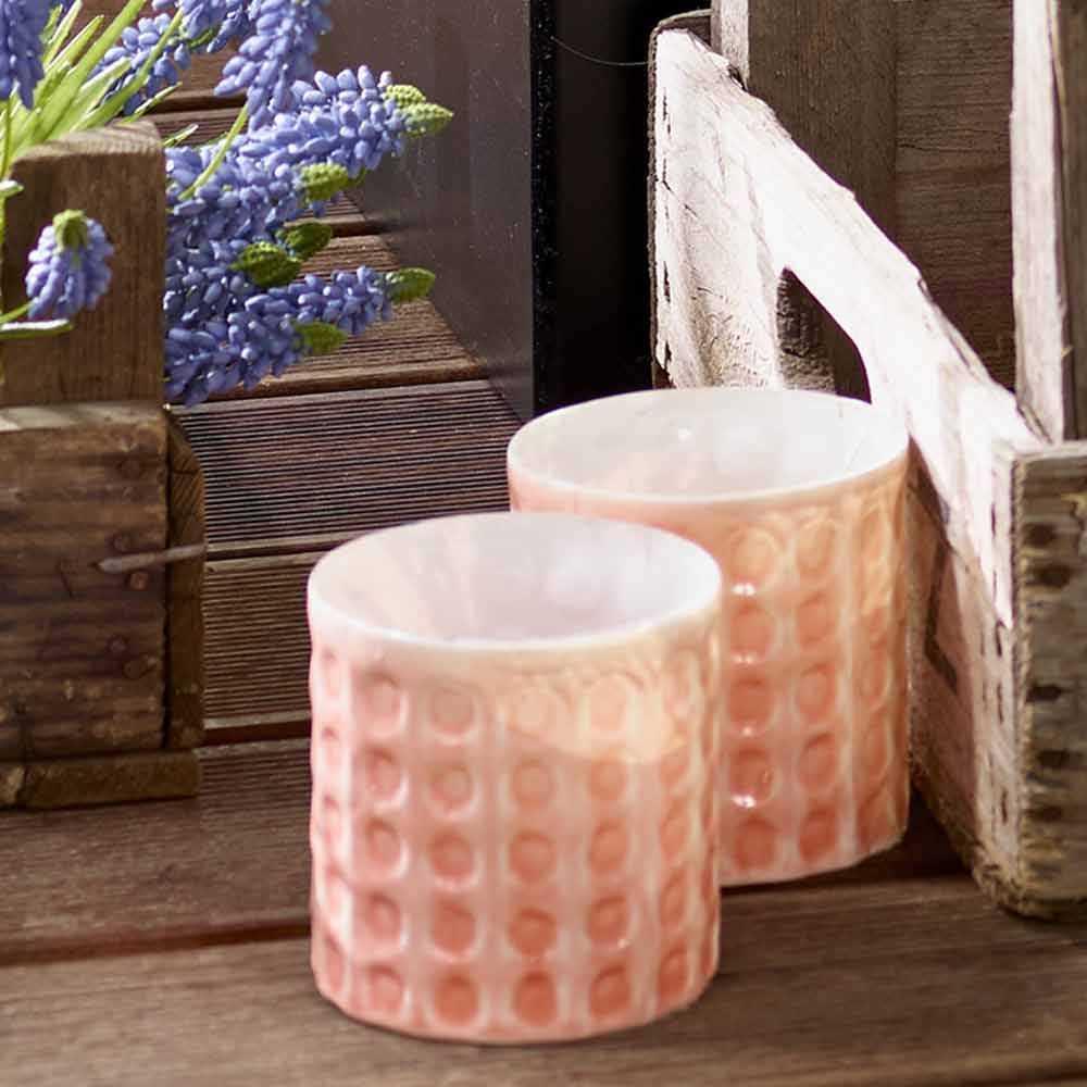 glas windlicht mit noppen set 2 pink rosa. Black Bedroom Furniture Sets. Home Design Ideas