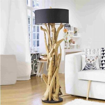 teakholz stehlampe m schirm h130cm natur schwarz. Black Bedroom Furniture Sets. Home Design Ideas
