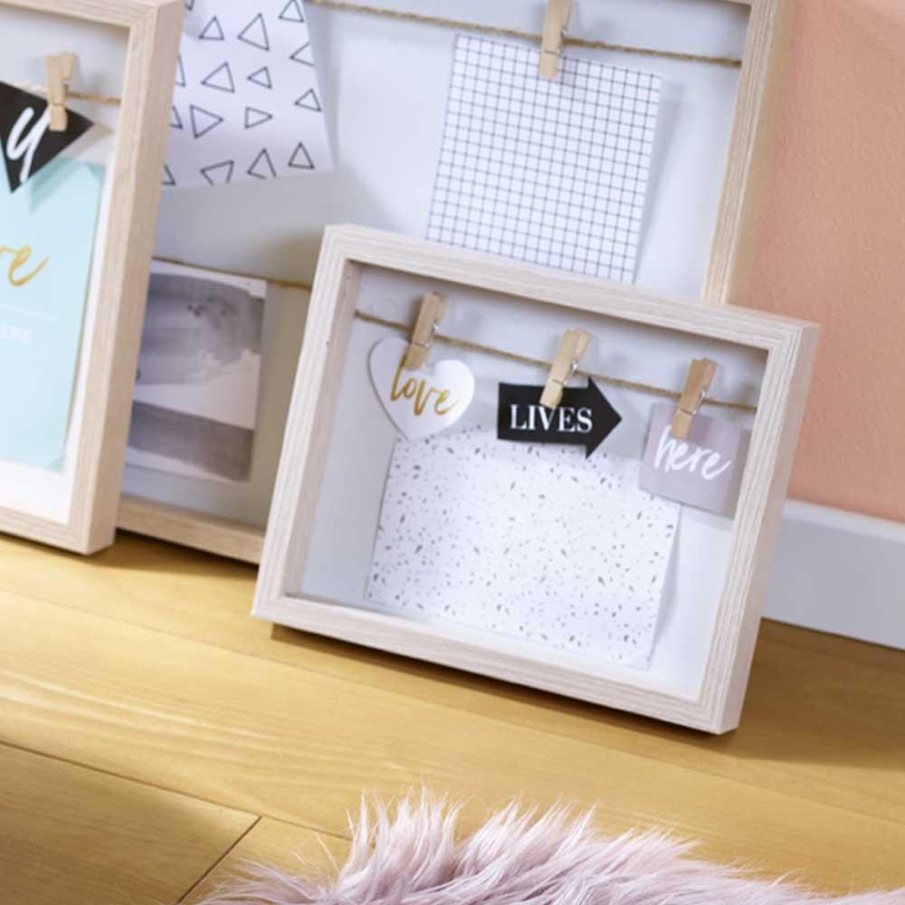 holz bilderrahmen mit klammern klein l 18cm natur creme. Black Bedroom Furniture Sets. Home Design Ideas