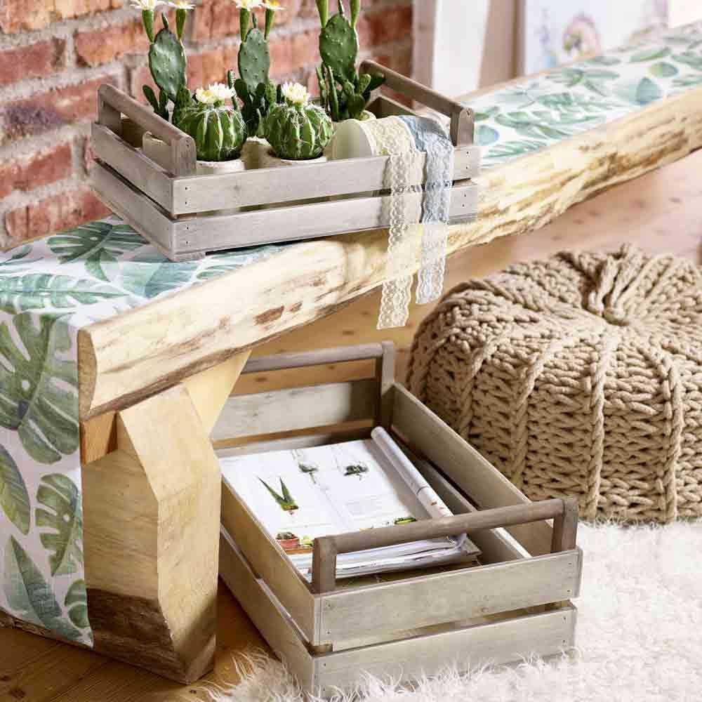 holz kiste mit holzgriff set2 50cm grau. Black Bedroom Furniture Sets. Home Design Ideas