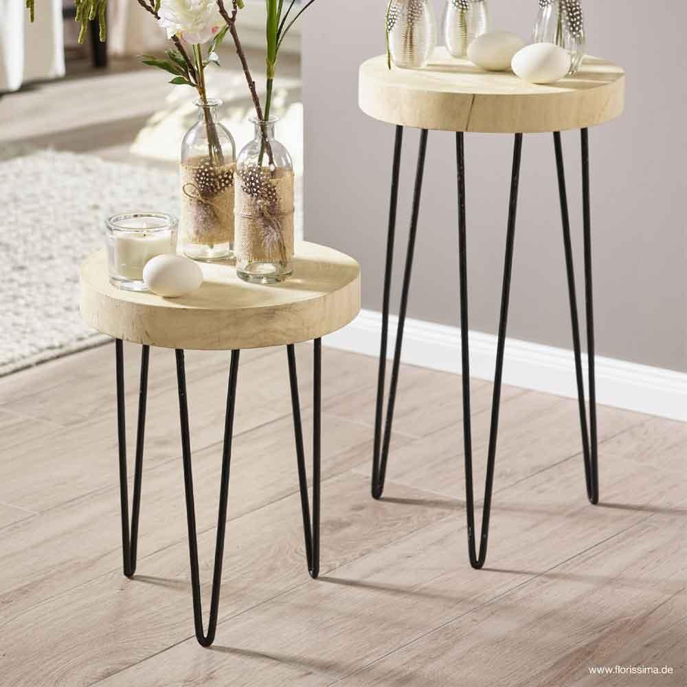 holz metall hocker mit f en h64cm natur schwarz. Black Bedroom Furniture Sets. Home Design Ideas